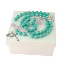Personalised Rosary Turquoise and Lilac Amethyst, Sterling Silver